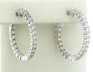 Image Is Loading Inside Out Diamond Hoop Earrings For Women In