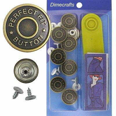 8 CT. 17 mm No-Sew Replacement Jean Tack Buttons w//Tool BCD2T8