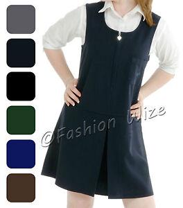7f4b606234ef Girls School Pinafore Dress Grey Black Age 2 3 4 5 6 7 8 9 10 11 12 ...