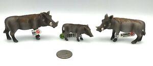 Schleich WARTHOG FAMILY Boar Sow Piglet Retired Figures 14611 14612 14613 Set