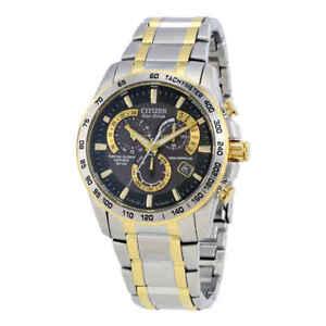 Citizen-Perpetual-Chrono-A-T-Black-Dial-Two-tone-Men-039-s-Watch-AT4004-52E