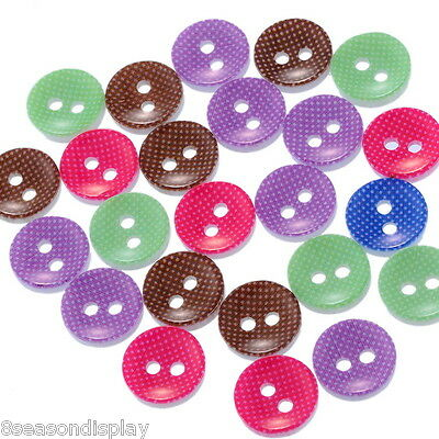 "100PCs Resin Buttons Sewing Scrapbooking Round Mixed 12.5mm( 4/8"")Dia."