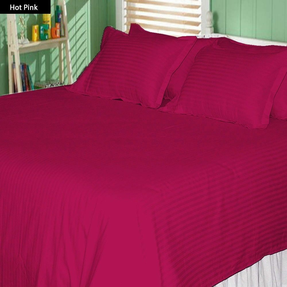 Duvet Set Sheet Set Fitted 1000 Thread Count New Egyptian Cotton Hot Pink color