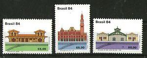 Copieux Brésil 1984 Railway Station Buildings Set Of All 3 Timbres Commémoratifs Neuf Sans Charnière