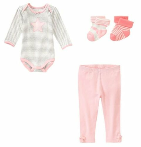 NWT Brand New Baby Girl 4pc Outfit//Set Star Bodysuit Pants /& Socks Sz 12-18 pink