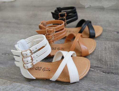 New Girls Gladiator Kids Zipper Buckle Summer Fashion Shoes Sandals size 11-4