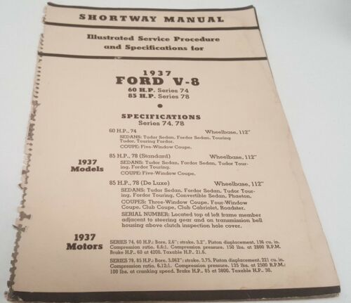 1937 FORD V8 Shortway Manual