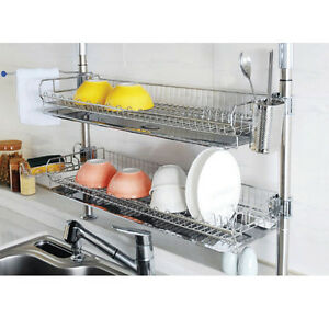Image is loading Stainless-Fixing-Double-Shelf-Dish-Drying-Rack-Drainer-  sc 1 st  eBay & Stainless Fixing Double Shelf Dish Drying Rack Drainer Dryer Tray ...
