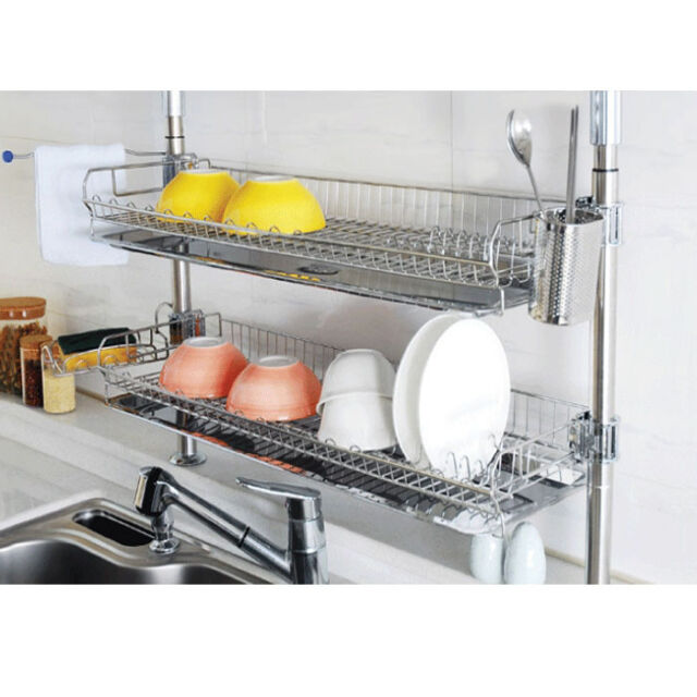 Stainless Fixing Double Shelf Dish Drying Rack Drainer Dryer Tray Kitchen