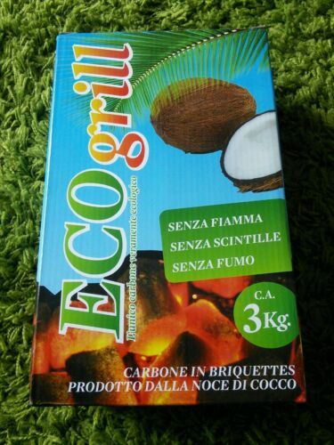 30 kg Carboncini di cocco ecologico senza fiamma,nè fumo,barbecue,narghilè