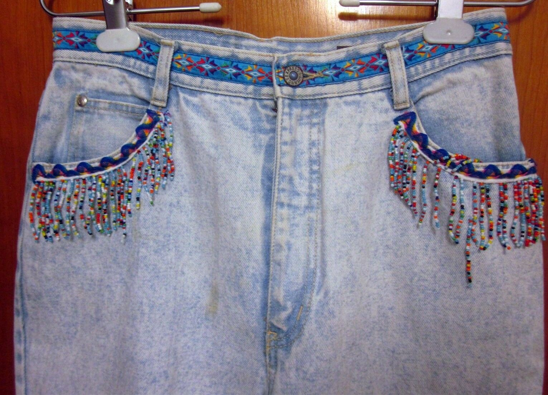 GITANO EXPRESS size 11-12 denim bluee-jeans w  dangling Southwestern beads 1980s