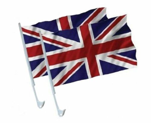 """Pack of 2 Royal Jubilee 15/"""" x 10/""""  Union Jack Car Flags"""
