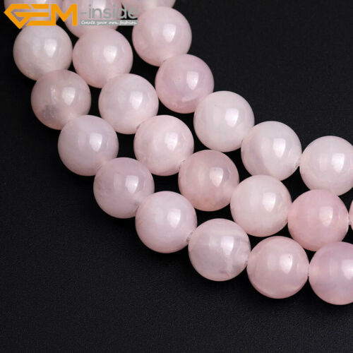 "Natural Round Pink Rose Quartz Crystal Beads For Jewelry Making 15/"" 2mm Big Hole"