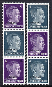 GERMANY-3rd-REICH-WWII-Occupations-OSTLAND-Hitler-O-P-1941-Issue-Se-Tenants-MNH