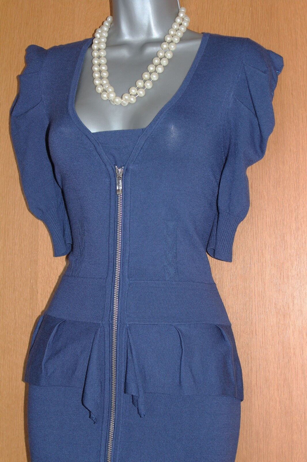 KAREN MILLEN bluee Thin Knitted Short Short Short Sleeves Front Zip Casual Work Dress 3 UK12 0d06d7