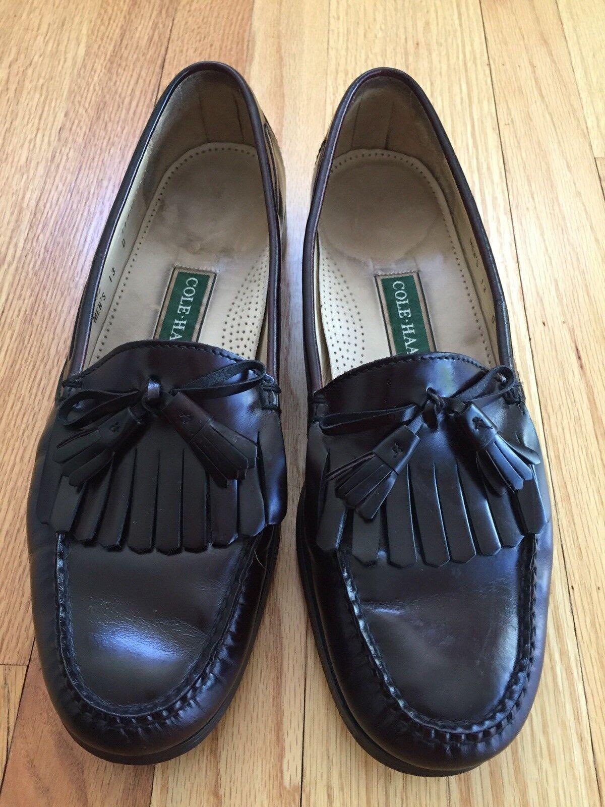 Cole Haan Burgundy Leather Kilt Bow Tassel Moc Toe Loafer shoes Mens 13 D Casual