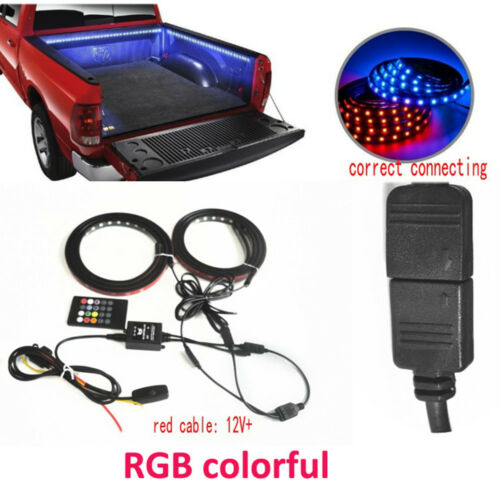 """2X 60/"""" RGB LED Car Truck Bed Light Tailgate Lamp Strip Neon Glow Atmosphere Bulb"""