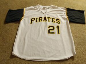 cheap for discount 63a3e 3b8f4 Details about Roberto Clemente #21 Pittsburgh Pirates MLB White Baseball  Jersey Size XL