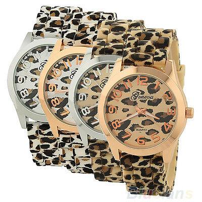 Fashion Women Silicone Leopard Print Quartz Analog Geneva Wrist Watch Comfy