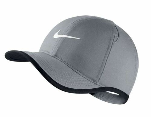 NWT NIKE Men/'s Dri-Fit Feather Light Running Tennis Hat Cap GRAY w//White Swoosh