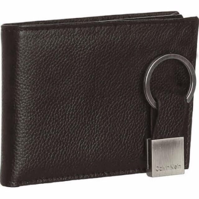19b59426f New Calvin Klein CK Mens Pebble Leather Passcase Brown Billfold Wallet Set  79080