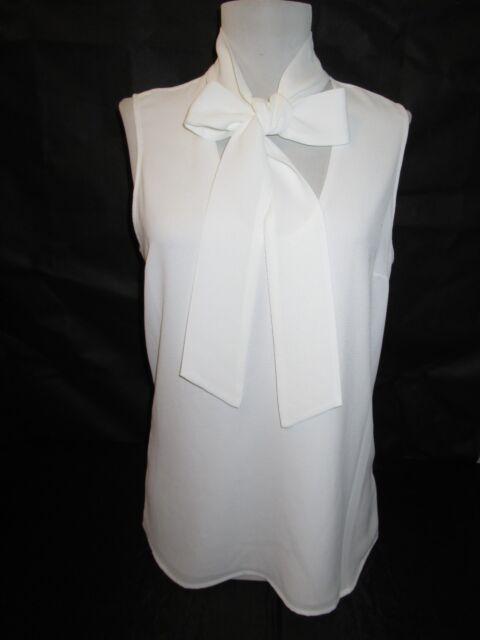 Buy Michael Kors Sleeveless Tie Neck Blouse Top White Size 4 Online