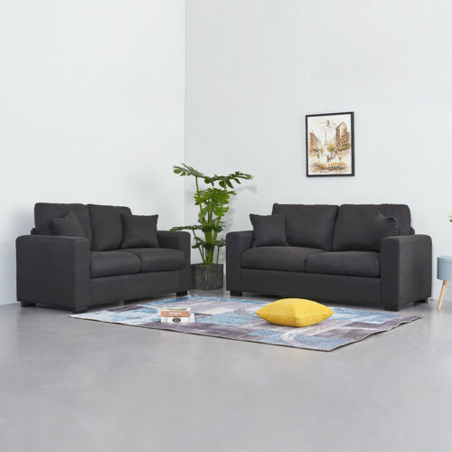 Luxury 2//3 Seater Linen Fabric Sofa Lounge Couch Settee Armchair Living Room