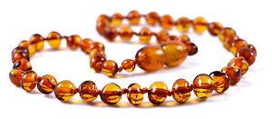 Collier d'Ambre Bebe Certifié - Perles Rondes Cognac - Bébé & Adulte Tailles