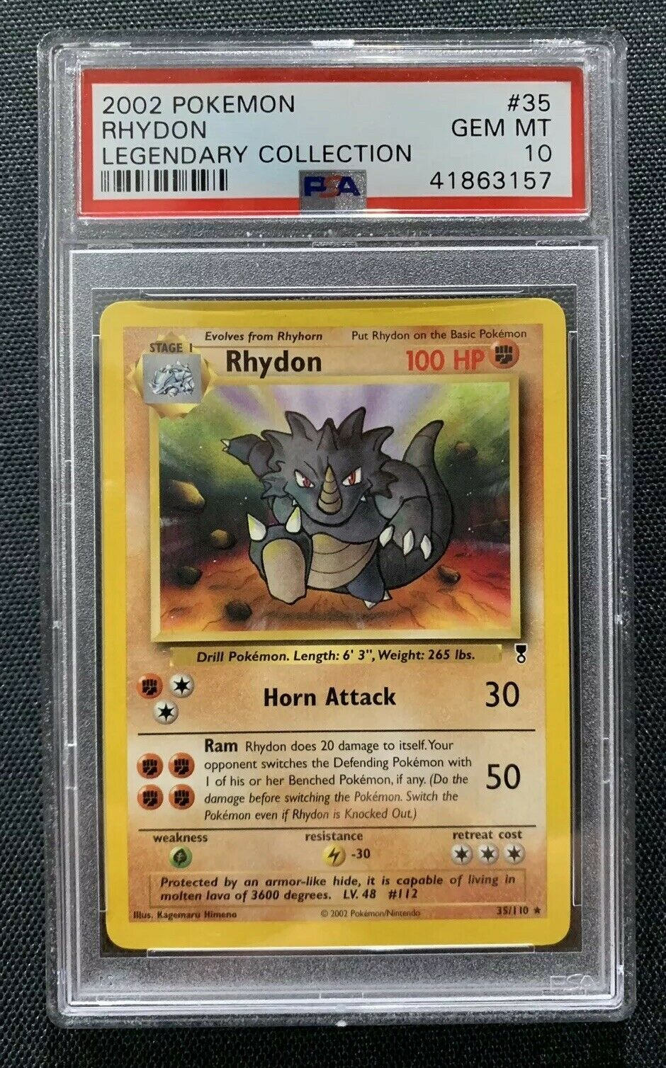 Pokemon Legendary Collections PSA 10 Rhydon 35 110