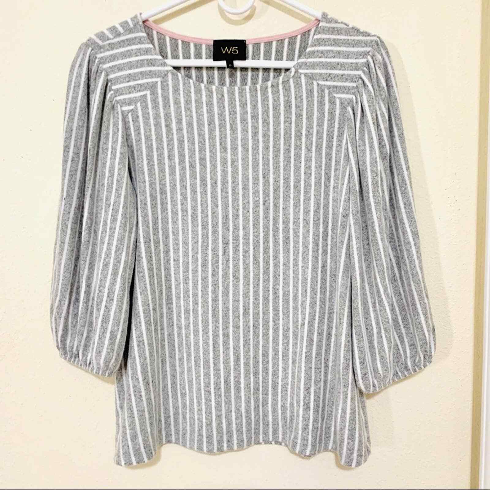 ANTHROPOLOGIE W5 striped puffed shoulder blouse s… - image 1
