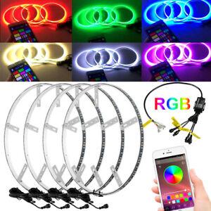 "4x 15.5"" Inch RGB Color Shifting LED Car Wheel Rings Rim Lights For 13.5"" Rotor"