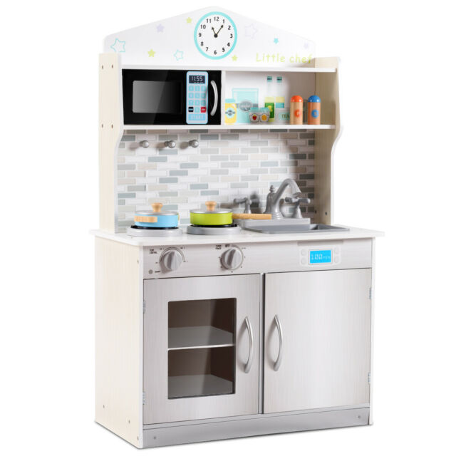 Wooden Pretend Cooking Playset Kitchen Toy Cookware Play Set for Kids Gift  White