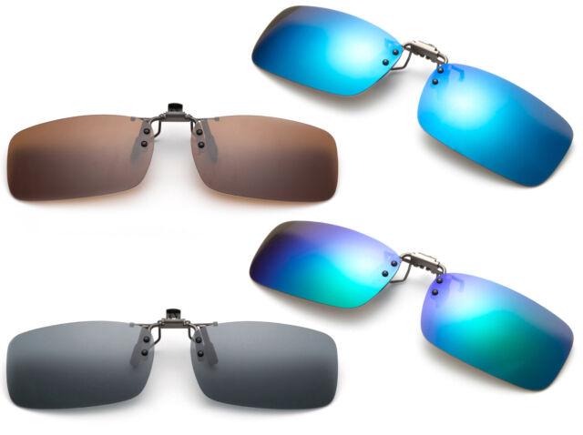 Men Silver Sunglasses Clip On Flip Up Driving Travel Glasses UV 400 Protective