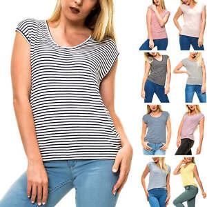 Only Damen T-Shirt Kurzarmshirt Shirt Stretch O-Neck Damenshirt Sommershirt Top