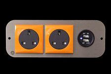 Hyundai i load 2.1A Dual USB X2 240v Orange Berker Coloured Surround