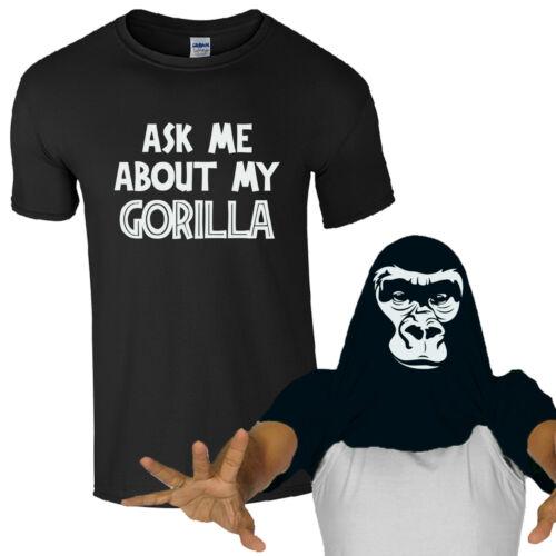 ASK Me About My GORILLA T-shirt divertente retrò Giungla Scimmia Kids uomini COOL Flip Top