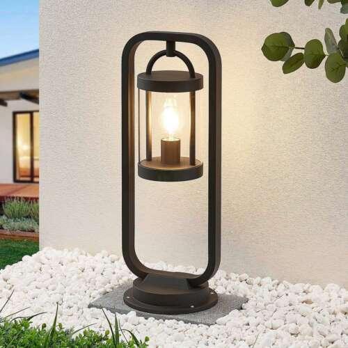 Sockelleuchte Cassian Lucande Außenlampe dunkelgrau IP54 E27 Garten