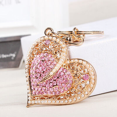 New Fashion Sweet Heart Pearls Charm Pendant Crystal Purse Bag Key Chain Lover