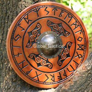 "Handcrafted Thor Hammer Design Shield wooden 24"" Viking Battle-ready shield"