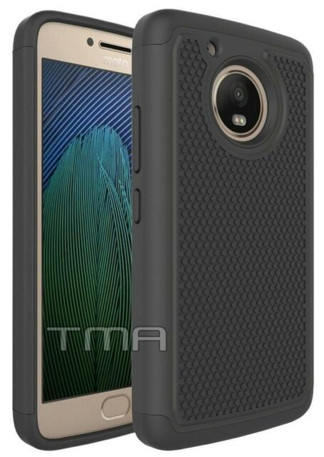 Fits Motorola Moto G5 Case Shockproof Rugged Rubber Impact Hybrid Cover - Black