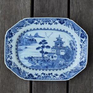 18th-Century-Chinese-Export-Blue-amp-White-Dish-Qianlong-Octagonal-dish-2