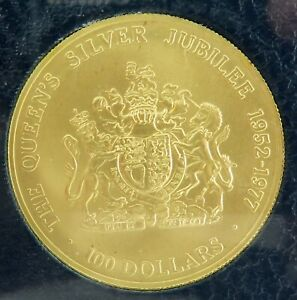 RARE-1977-CAYMAN-ISLANDS-100-50-GOLD-UNC-SILVER-JUBILEE-COIN