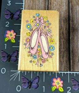Hero Arts Ballet Slippers With Flowers Rubber Stamp D575 Wood Mount #C46