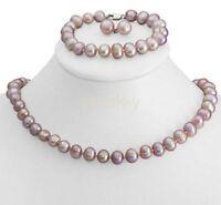 8-9mm Purple Freshwater Cultured Pearl Necklace Bracelet & Earrings Set JN115