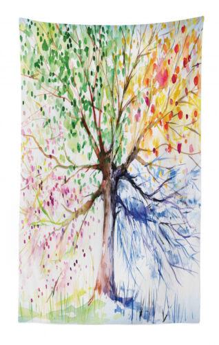 Baum Wandteppich und Tagesdecke Vier Jahreszeiten Bunte Druck