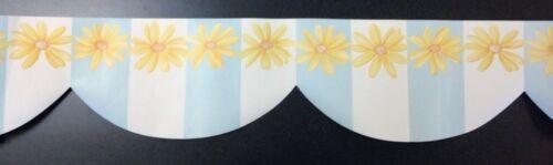Waverley Pastel Drapery Yellow Daisy Flower White Blue Stripe Wallpaper Border