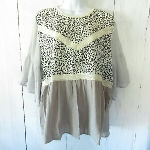 New-Umgee-Top-1X-Gray-Leopard-Animal-Crochet-Lace-Ruffle-Plus-Size