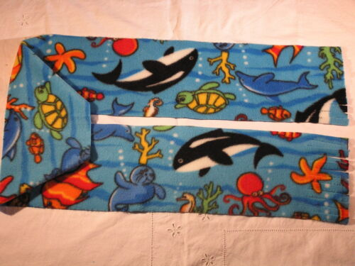 Dolphin Whale Turtle Octapus Fleece Scarf Under Water Nautical