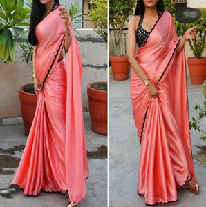 Sexy Hot Peach Saree Black Blouse Choli Designer Beautiful Indian Party Dresses Ebay