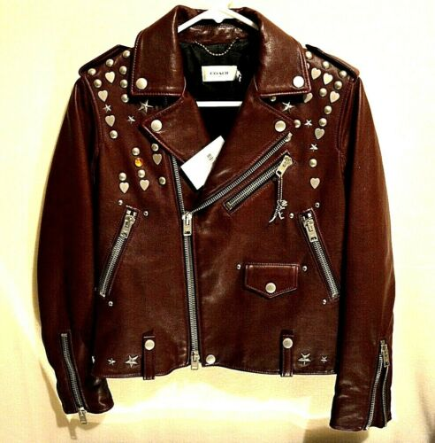 Coach Leather Jacket Womens ICN Moto BTNIK Rivet N